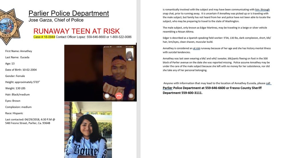 13 year old may have runaway with adult to Washington | KMPH